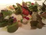2001 Ensalada tibia de tuétanos de verdura con marisco, crema de lechuga de caserío y jugo yodado