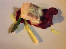 "Kingfish ""Yellowtail"" fillet with Organic Vegetables and Beetroot Cre"